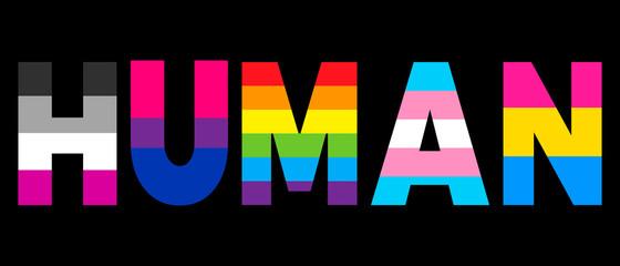 LGBT equality symbols. human slogan. Parade, party, festival event invitation, t-shirt, logo, poster design. lgbt flag isolated on black background. lettering inscription LGBT concept.
