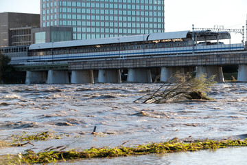 A view of Tama river, which reached flood risk level last night caused by Typhoon Hagibis, in Tokyo, Japan