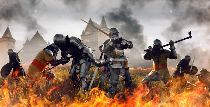 Medieval battle of knights in fire