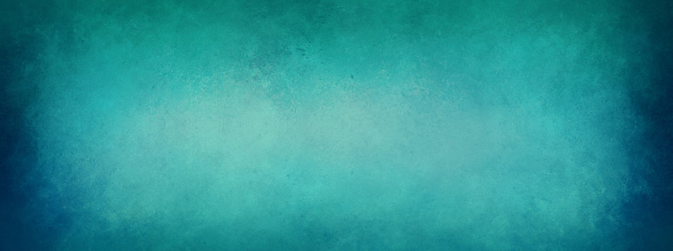 Blue green background paper with border texture grunge, old vintage teal color background that is elegant and distressed