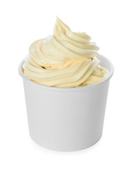 Cup with tasty frozen yogurt on white background