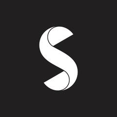 leter s twist 3d geometric logo vector