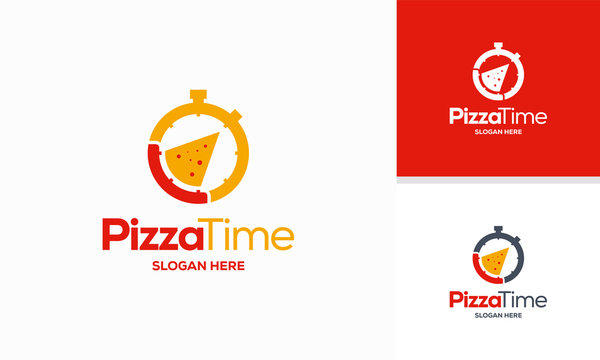 Pizza Time logo designs concept vector, Pizza and Stopwatch logo template symbol icon
