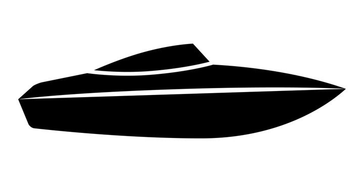 Speed boat or speedboat / motorboat flat vector icon for transportation apps and websites