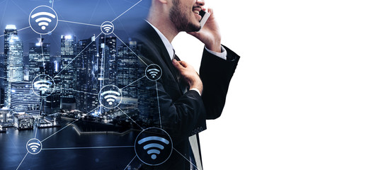 Double Exposure Image of Business Communication Network Technology Concept - Business people using...