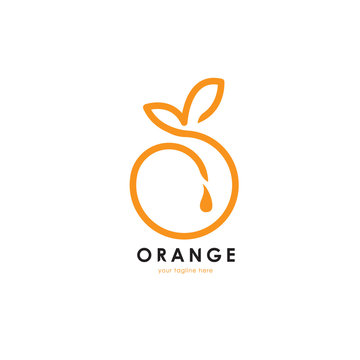Healthy orange fruit logo. This logo is suitable for fruits store or modern cafe or restaurant, food nutrition, healthy food and others. Vector illustration