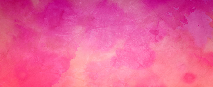 bright hot pink watercolor and soft peach orange and beige colors on old crumpled paper texture design, elegant watercolor paint illustration