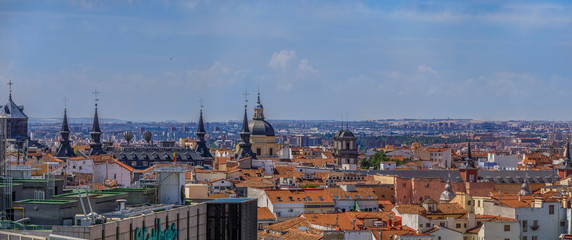 Aerial view of the Madrid cityscape and Almudena Cathedral rooftops in the city center Madrid, Spain