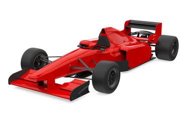 Red Formula One Race Car Isolated