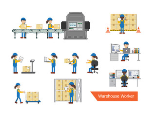Set of female warehouse workers