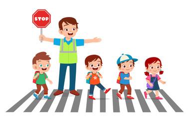 happy good man help kids cross road