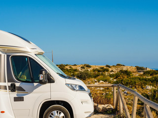 Camper car on Cape San Antonio, Spain