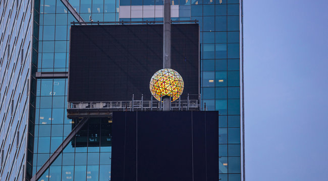 New York, Times Square.  Crystal ball and black blank billboards