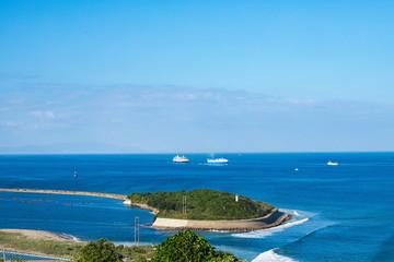 Island and ships on Kitan channel , Awaji island ,Hyogo,Japan