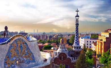 Antoni Gaudi Mosaic Tiles Park Guell in Barcelona, Spain.