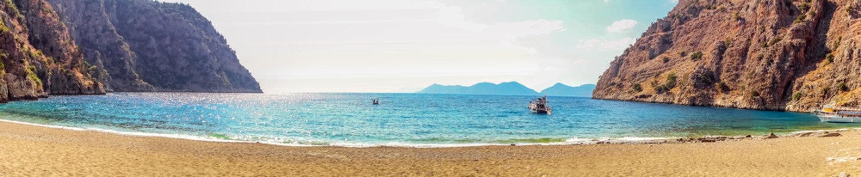 Panorama paradise in Turkeys Butterfly Valley sea beach