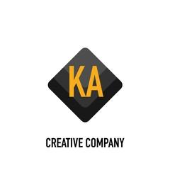 Obraz Initial Letter KA Black Creative Design Logo in Shape - fototapety do salonu