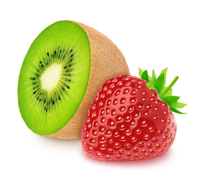 Composite image with halved kiwi and strawberry isolated on a white background.