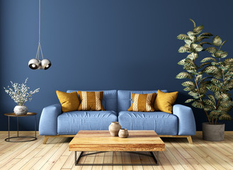 Modern interior of living room with sofa, wooden coffee table, against blue wall 3d rendering