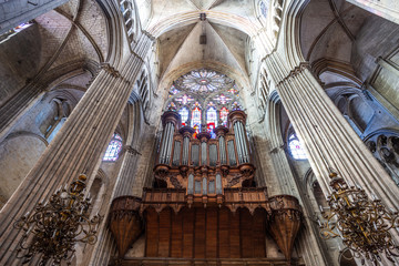 The organ inside the cathedral in Bourges