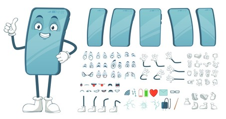 Cartoon smartphone mascot. Funny mobile phone character, smartphones screen with face legs and arms. Tablet gadget device display body constructor. Isolated vector illustration symbols bundle - fototapety na wymiar