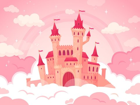 Cartoon castle in pink clouds. Magic land, fairytale cloud and fabulous sky. Fairy castle for little princess. Fantastic tower, majestic kingdom building landscape vector illustration