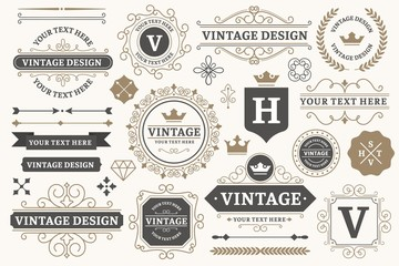 Foto auf AluDibond Retro Vintage sign frames. Old decorative frame design, retro ornate label elements and luxurious vintage borders. Premium certificate badge, victorian elegant tag. Isolated vector symbols set