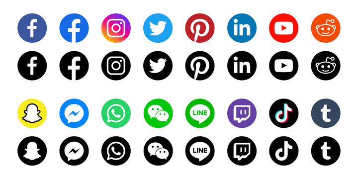 Round social media icons or social network logos flat vector icon set / collection for apps and websites