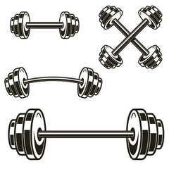 Set of powerlifting barbells isolated on white background. Design element for logo, label, badge, sign. Vector illustration