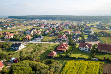 Village in Poland. Sunny day, home and streets