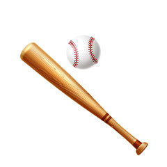 Vector realistic baseball bat and ball for betting