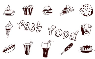 fast food large collection of doodles food