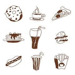 fast food doodle selection of goodies drawings