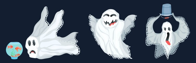 a selection of ghosts in a flat style on a dark