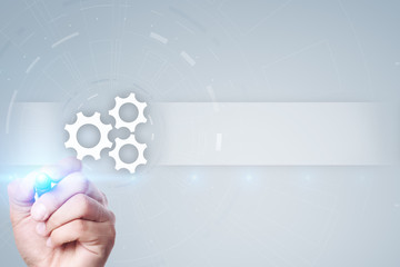 Wall Mural - Gears icon on virtual screen with empty space for text. Automation, Business process and technology concept.
