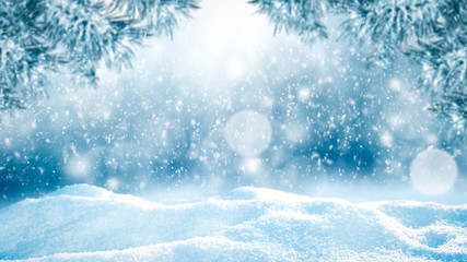 Snow background of free space for your decoration and winter time