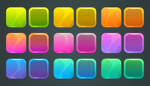 Square frames and buttons for game ore app store logo design.