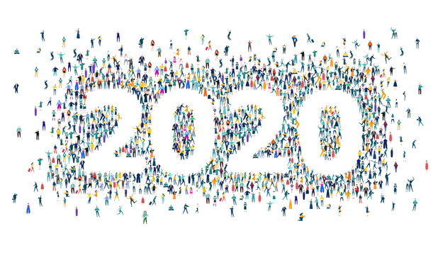 New Year 2020 concept illustration. 2020 made of many little people in business and casual clothes. Living, working and celebrating together.