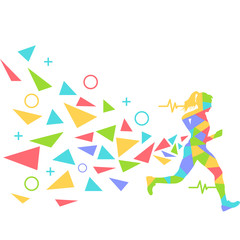 marathon flat vector graphic design
