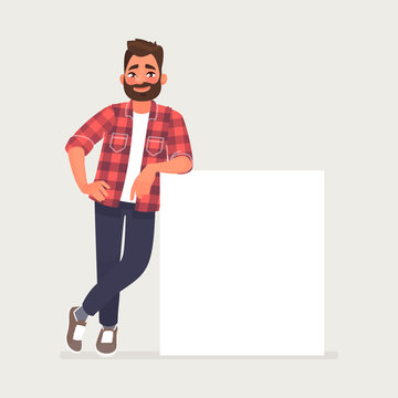 Bearded man is leaning on a blank poster. A place to post your advertisement or other information. Advertising