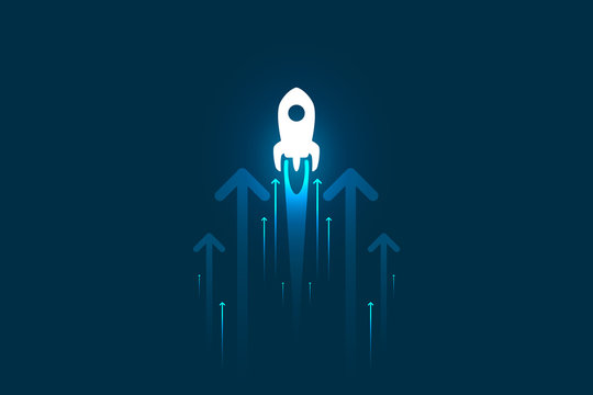 Up rocket and arrows on blue background illustration, copy space composition, business growth concept.