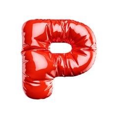 Alphabet red balloon letter font text character P