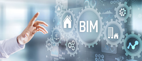 Wall Mural - Building information modeling BIM Software architecture system.