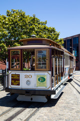 Cable Car of the Powell-Hyde Linie on the Turntable at Hyde Street in Fishermans Wharf, San Francisco, California, USA.