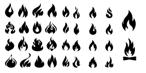 Fire flames Set vector icons isolated on white background