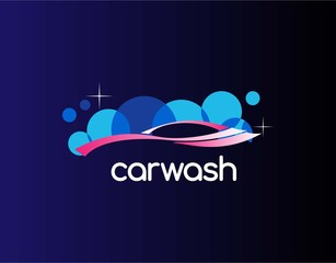 Luxury Logo of Car Wash with Modern & Elegant Concept. Designed with Pictures of Water Bubbles and Sparkling Cars. Vector Illustration