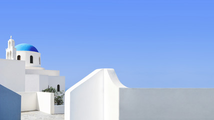 Aluminium Prints Santorini Santorini blue dome and whitewashed structures on light blue sky