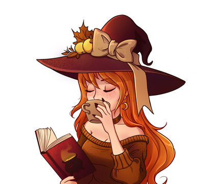 Young witch is drinking coffee and reading book. Hand drawn illustration for children games.
