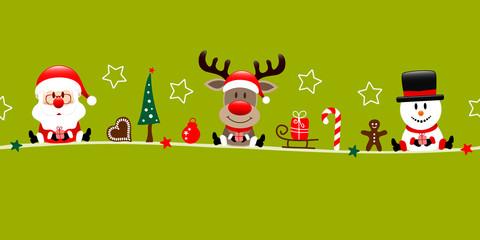 Wall Mural - Banner Weihnachtsmann Rentier Und Schneemann Mit Icons Hellgrün