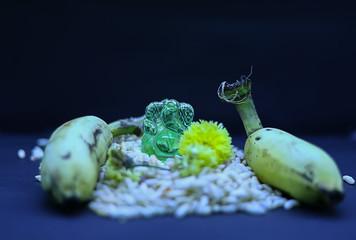 Saraswathi Pooja and Ayudha Pooja Celebrations - Hindu God Vinayaga with banana, flowers and pori on black background.